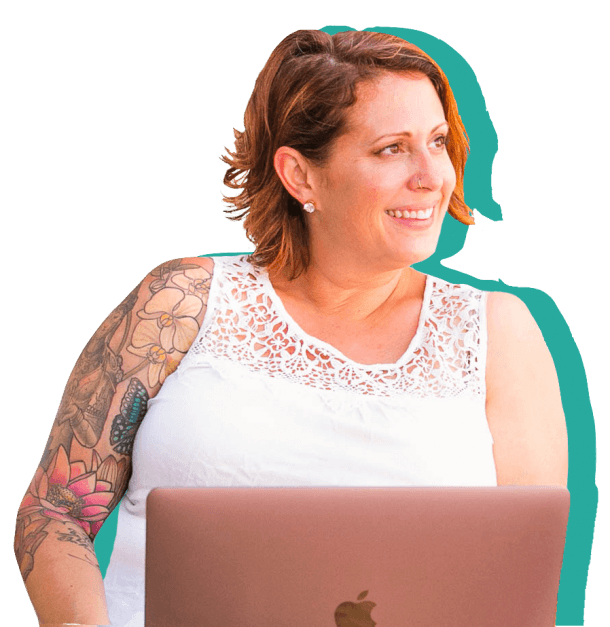 Business Coach Kate Bagoy with Laptop